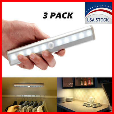 Led Battery Light (3 Pack 10 LED Motion Sensor Closet Light Wireless Night Cabinet Battery Powered )
