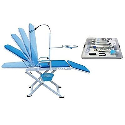 Dental Portable Folding Chair Mobile Unit Blue High Low Speed Handpiece Kit 4h
