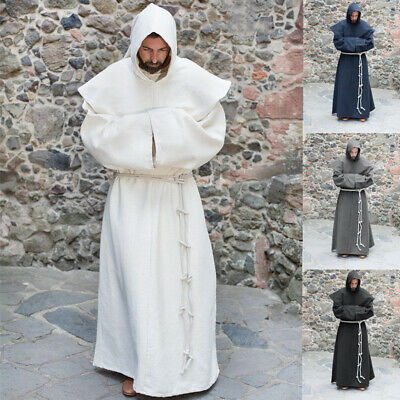 Medieval Renaissance White Priest Monk Robe Hooded Mens Cosplay Costume