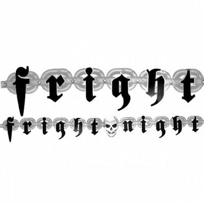 2.1m Black and Grey Fright Night Letter Banner Garland Goth Hanging Decor Gothic