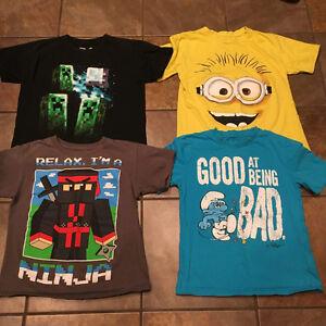 Boys size 7/8 Tshirts. Mindcraft,Smurfs/Minions and Ninja