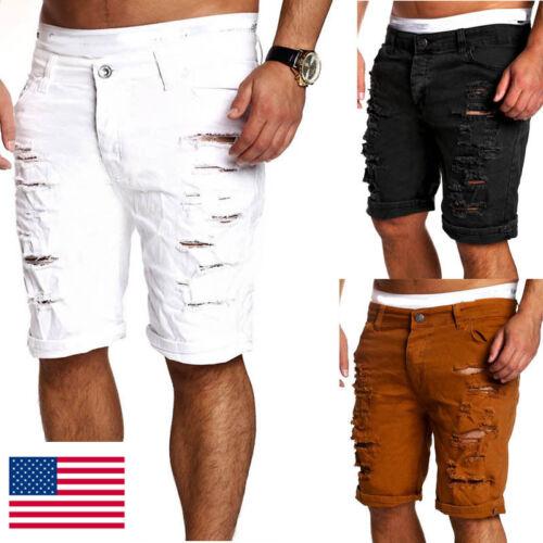USA STOCK Men Slim Denim Jeans Skinny Frayed Short Pants Dis