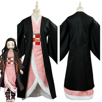 Demon Slayer: Kimetsu no Yaiba Kamado Nezuko Cosplay Costume Uniform Kimono Set  - Demon Slayer Costume