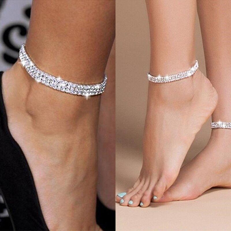 Fußkettchen Fusskette Strasssteine Farbe Silber Kette Schmuck Geschenk Perle F4
