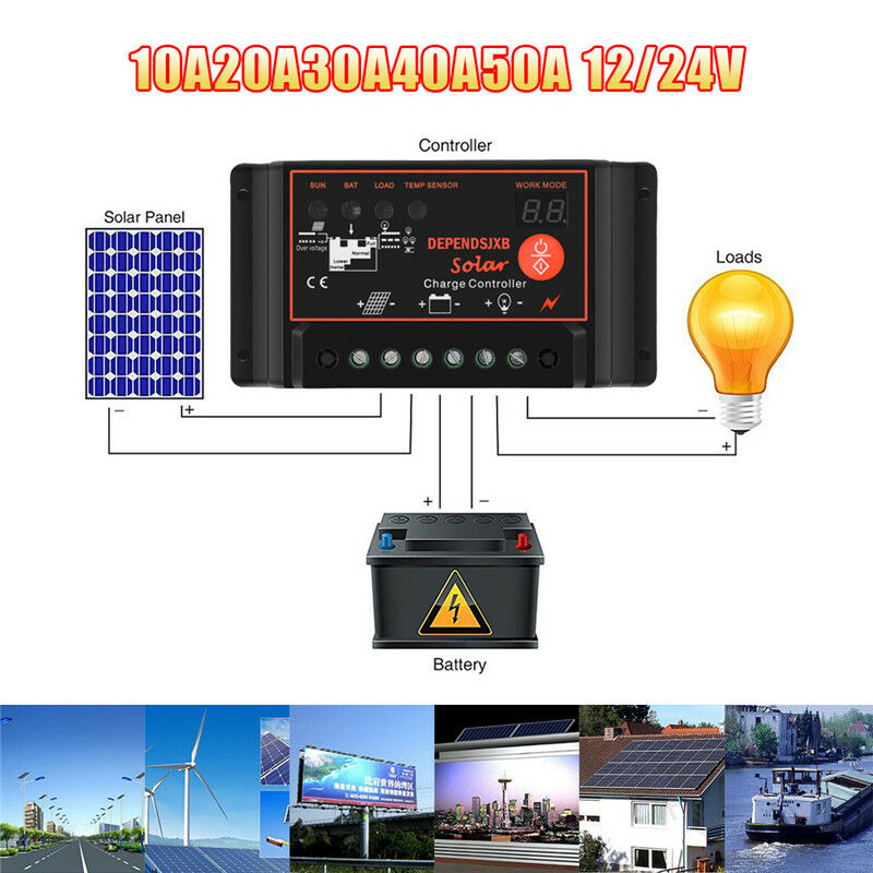 10A-50A 12V/24V Nixie Tube Solar Panel Charger Controller Battery Regulator USB