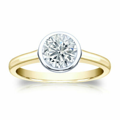 2 Ct Solitaire Engagement Ring Solid 10k Two Tone Gold Finish Bezel Set Women's Bezel Two Tone Ring