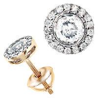GENUINE 1 CTW DIAMOND STUD EARRINGS IN 14K GOLD - ONLY $1299