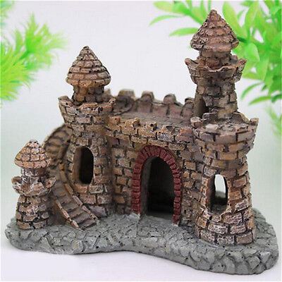 Polyresin Tower Castle Aquarium Ornament Fish Tank Decoration Accessories Xed