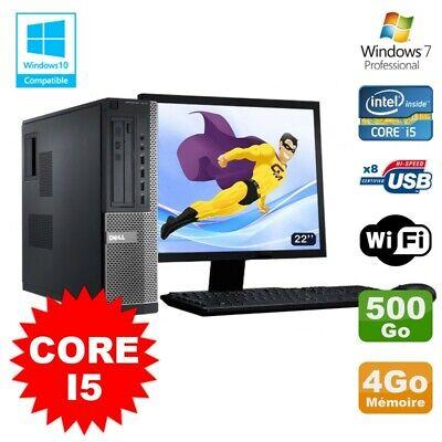 Lot PC Dell 3010 DT Core I5 3.1Ghz 4Go 500Go Graveur WIFI Win 7 + Ecran 22