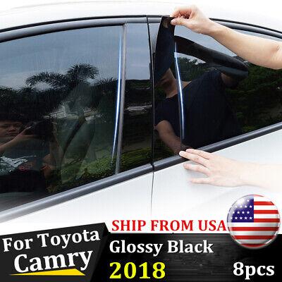 8pcs Glossy Black Window Center Pillar Post Cover Trim For Toyota Camry 2018 USA