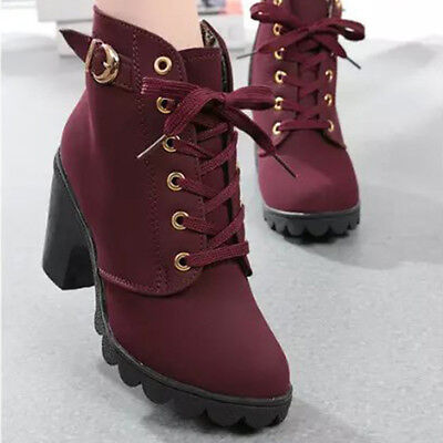 Womens Martin Boots Ladies Zipper Lace Up Buckle Platform Shoes High Heels Ankle