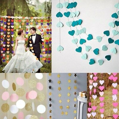 2/3/4M Circle Heart Star Paper Garland Bunting Party Wedding Baby Shower Decor
