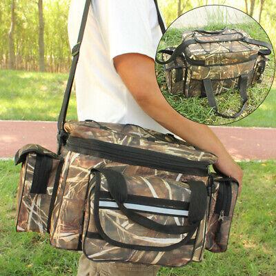 Large Waterproof Fishing Tackle Bag Shoulder Strap Storage Pockets Lure Bait Box