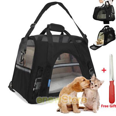 Pet Carrier Soft Sided Large Cat/Dog Travel Bag Oxford Airline Approved Black