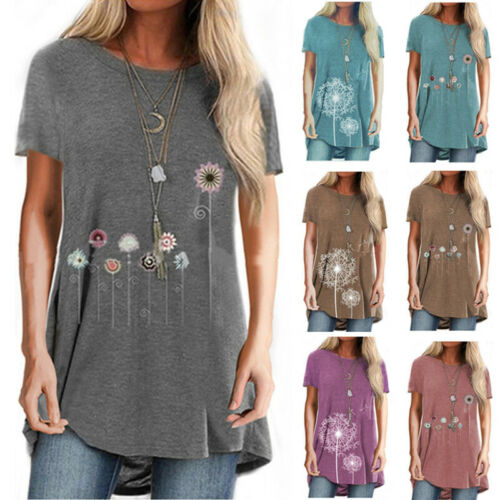 Women Summer Crew Neck Short Sleeve Casual T Shirt Loose Floral Plus Blouse Tops Clothing, Shoes & Accessories