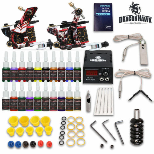 Complete D175VD Tattoo Kit needles 2 Machine Gun Power Supply 20 Color Ink Tip