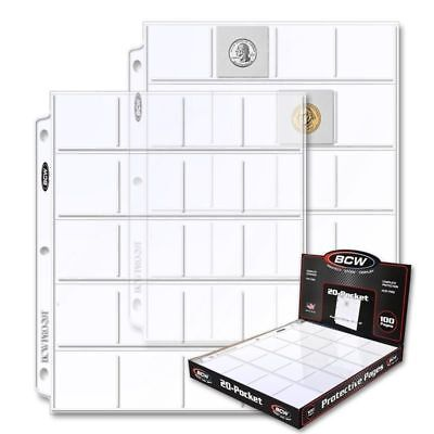Lot of 25 BCW 20-Pocket Album Pages for 2x2 Coin Flips binder sheets