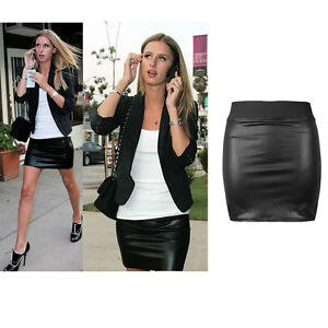 Sexy Women's Stretch Black Look Faux Leather Bodycon High Waisted Mini Skirt New