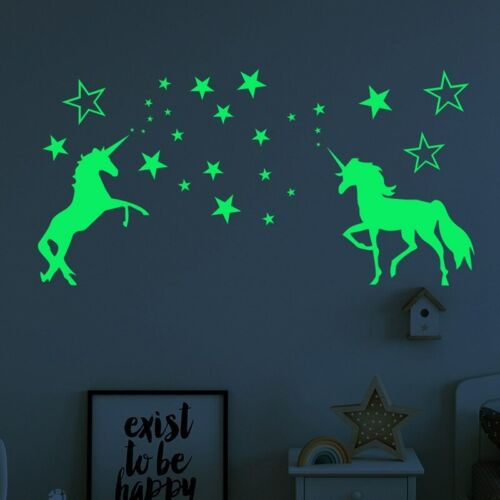 Luminous Unicorn Wall Stickers Kids Room Home Decor Glow In The Dark Stars Decal