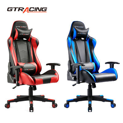 Gtracing Gaming Chair Ergonomic High-back Adjustable Pu Office Recline Chair New