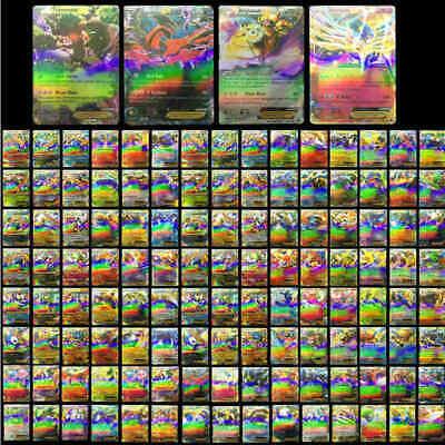 100Pcs Pokemon TCG Flash Cards Lot Rare 20 MEGA + 80 EX Card No Repeat Kids Gift