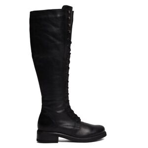 Botte: Women's Sienna Black Leather Lace-Up Boot
