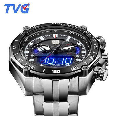 Tvg Mens Dual Movement Time Display Blue Led Digital Quartz Sports Wrist Watch