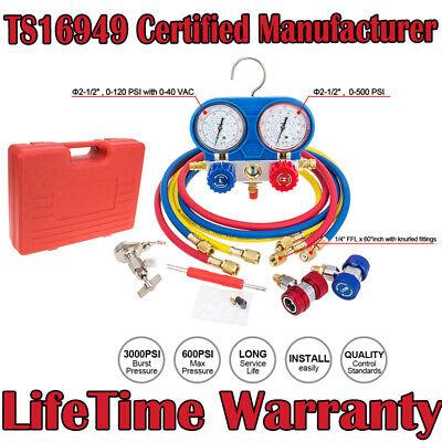 3 Way Air Vacuum Pump Hvac R134a Kit Ac Ac Manifold Gauge Set For R12 R22 Us