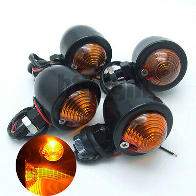 4x Black Universal Bullet Motorcycle Turn Signal Indicator Amber Blinker Lights