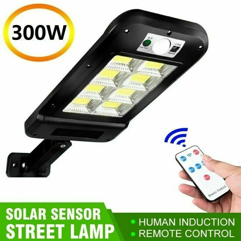 600W Solar Street Wall Light PIR Motion Sensor LED Outdoor Yard Lamp+Remote US