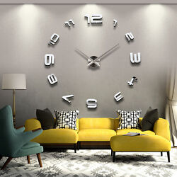 Frameless Large DIY 3D Wall Clock Home Decor Cool Mirror Sticker Art Hours