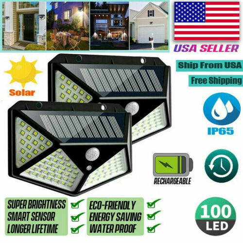 2x Waterproof 100 LED Solar Power PIR Motion Sensor Light Outdoor Security US Home & Garden