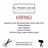 Emploi coiffeuse perruque - Job available hairdresser wigs