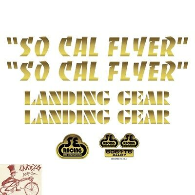 SE BIKES SO CAL FLYER GOLD STICKERS DECAL SET