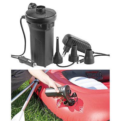 AGT Elektrische Akku-Luftpumpe mit 3 Aufsätzen, für 12 & 230 V, 50 Watt