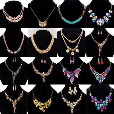Bohemian More Styles Vouge Crystal Gemstone Pandent Satement Necklace Jewellery