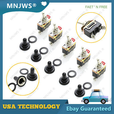 5x Spst 2 Pin 15a 250v Onoff Rocker Toggle Switch For Boat Racecar Rv Truck Car