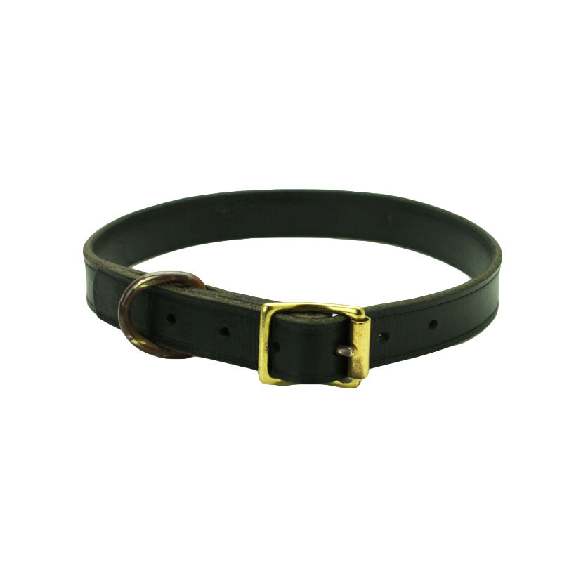 Cow Leather Copper Buckle Medium Large Dog Pet Collar Adjusts to Fit Made in USA
