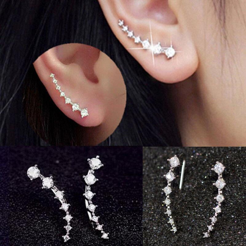 Jewellery - Women Fashion Rhinestone Silver Crystal Earrings Ear Hook Stud Jewelry Gift NEW