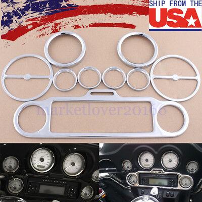 Speaker Trim Rings - Chrome 9pcs Stereo Accent Speedometer Speaker Trim Ring Set For Harley Davidson