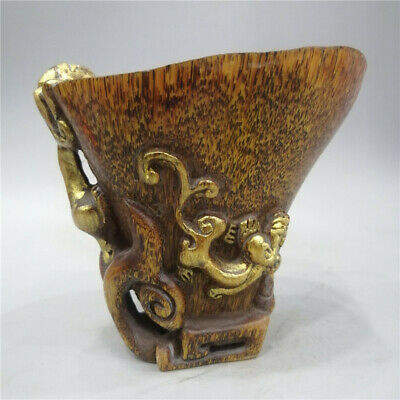 """5.12/"""" Folk collection ox horn Hand carved Chilong Dragon ox horn cup wine cup"""