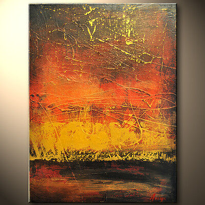 Red Abstract Gallery ( RED Gold sunset ORIGINAL Modern Abstract palette knife painting Gallery ART)