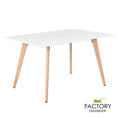 Wooden Oak White Dining Table Contemporary Kitchen Room Furniture Beech Wood Leg
