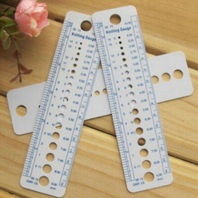 Knitting Needle Crochet Gauge Size Ruler Plastic 2-10mm Weaving Tools- Inches/CM