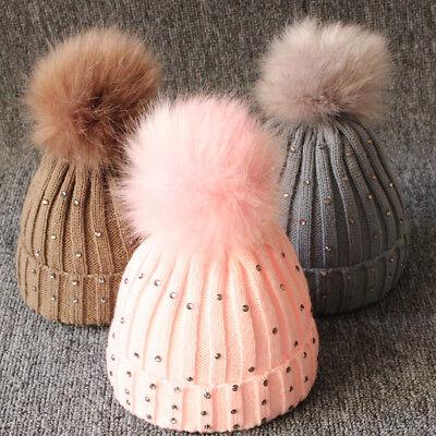 Big Pompom Kids Baby Hat Winter Warm Knitted Girl Cap Bonnet Crochet Ball Beanie - Infant Ball Caps