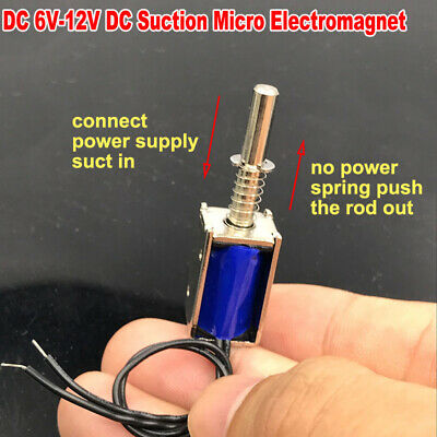 6v-12v Dc Suction Micro Electromagnet Spring Push Pull Type Rod Solenoid Magnets