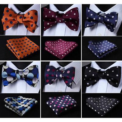 HISDERN Mens Woven Polka Dot Self Bow Tie Silk Wedding  Handkerchief Set#RD1