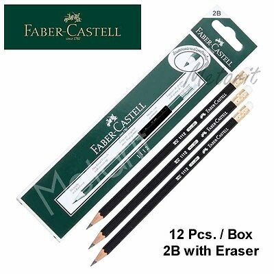 Box 12 Faber Castell Pencils 2b With Eraser Germany Bleistift Crayons Graphite
