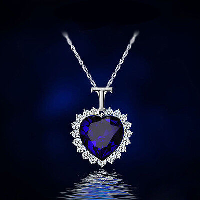 Fashion Women Charm Blue Crystal Heart Rhinestone Pendant Chain Necklace Jewelry