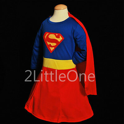 Superwoman Girl Superhero Hero Fancy Party Dress Up Costume Outfit Size 3T-9 003 - Superwoman Costumes For Girls